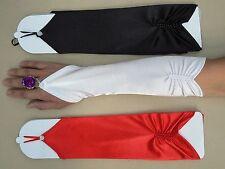 Fingerless Formal Wedding Long Satin Gloves White Black Red