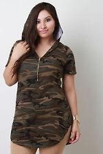 HOODED Camouflage T-SHIRT LONG tee CAMO mini dress Cotton Plus 1X 2X 3X