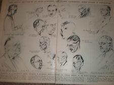 Gli schizzi alla conferenza economica mondiale da Werner knoth 1933 VECCHIE STAMPE