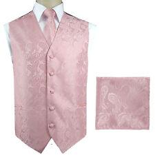 Pale Blush Light Pink Paisley Tuxedo Suit Vest Waistcoat & Neck tie Hanky Set