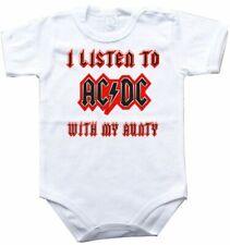 Baby bodysuit I LISTEN to AC DC with AUNTY, ROCK ACDC,  One Piece infant jersey