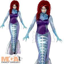 Zombie Mermaid Ladies Halloween Fancy Dress Fairytale Horror Womens Costume New
