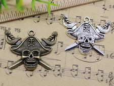 2~30pcs Jewelry Making Big Pirate Captain Skull Alloy Charm Pendants DIY 43x33mm