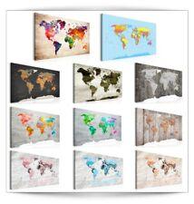 BILDER LEINWAND BILD Weltkarte World Map Holz Kontinente WANDBILDER Groß Auswahl