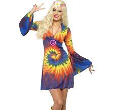 MUJER AÑOS 60 AÑOS 70 Tie-Dye Disfraz de Hippy Hippy Traje de Smiffys NUEVO