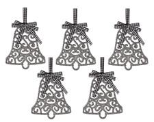Árbol de Navidad decoración campana colgante filigrana plata brillo Colgante de puerta