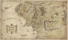 Mapa de Tierra Media Señor De Los Anillos Poster | Tamaños A4 A0 Reino Unido Vendedor | E212