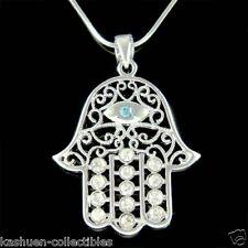 Big w Swarovski Crystal Jewish ~Hamsa Hamesh Hand~ Evil Eye Pendant Necklace New