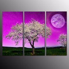 Canvas Print Full Moon Purple Sky Tree Wall Decor Art Painting Picture 3pcs