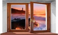 Sticker Trompe L'oeil Adesivo Finestra sul mare e scogliera con faro all'alba