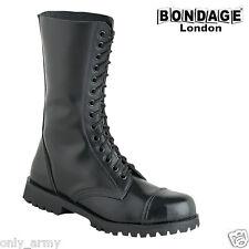 Botas De Cuero Negro Militar Estilo Alta Calidad Bondage London Punk Goth Ejército