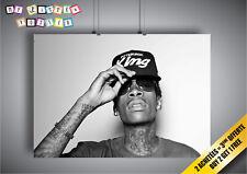 Poster Wiz Khalifa Rapper Hip Hop Cool B&W Wall Art