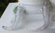 2 ORNATE VINTAGE PATTERN GLASS CAR VASES WALL POCKET