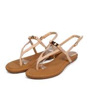 New Women DbDk Special-8 Leatherette Twist Lock Slingback Triangle Thong Sandal