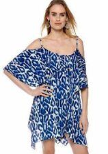 Jessica Simpson LEMOORE Blue Leopard Print Tiered Dress Tunic Top - MSRP $98