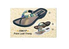 Grandco Ladies Palm Leaf Jewels Low Heel Thong Sandal Black Navy or White 26801P