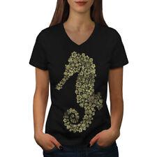 Caballito de Mar Flores Animales Mujeres Escote en V Camiseta Nuevo   wellcoda
