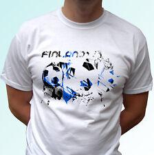 Finlandia Bandiera di calcio bianco T SHIRT SOCCER Style Design Uomo Donna Bambini
