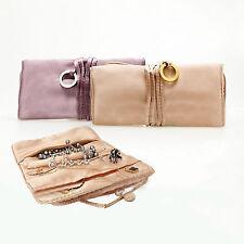 Elegant Large Jewelry Roll Holder Necklaces Pendants Organizer Makeup Travel Bag