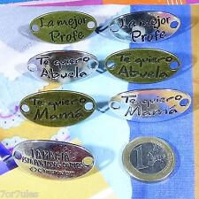 Lote de 8 Abalorios Chapas Para Pulsera Plata Tibetana lær Plate Beads Mama Mom