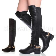 Womens ladies low heel zip chain buckle over knee high biker riding boots size