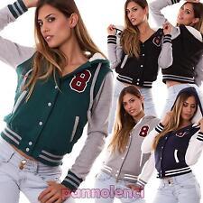 Giacchetto giacca donna giubbotto imbottito football cappuccio nuovo CR-592