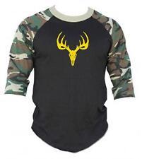 New Printed Deer SKULL Camo camouflage Funny 3/4 Sleeve Raglan BaseBall T-Shirts