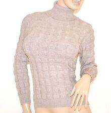 MAGLIONE BEIGE TAUPE maglia donna collo alto lana manica lunga maglioncino Z5
