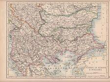 1897 VICTORIANO MAPA ~ TURQUÍA EN EUROPA & BULGARIA ~ MACEDONIA RUMELIA SERVIA