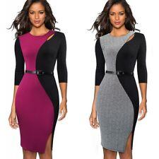 Womens Elegant Colorblock Work Business Office Party Bodycon Pencil Sheath Dress