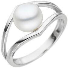 Damen Ring 585 Gold Weißgold 1 Süßwasser Perle Perlenring Weißgoldring