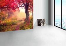 Papel Pintado Mural De Vellón Niebla Rojo Árbol 2 Paisaje Fondo De Pantalla ES