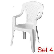 4 Sedie In Simil Rattan Arona Per Esterno Colore Bianco/Marrone Dim. 55x46x85 cm