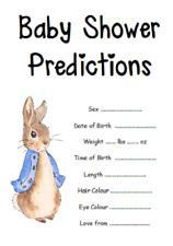 Juego de la ducha de bebé Azul Rosa Niño Niña predicciones Peter Rabbit Unisex