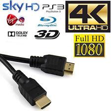 Gold HDMI v1.4 Cable 1.8M 2M 3M 5M 10M 15M PS3/SkyHD 1080p HDTV LCD 4K 3D Lead