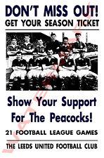 Leeds United-Vintage Football CARTOLINE POSTER-scegliere tra elenco