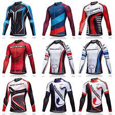 Men's Long Sleeve Cycle Jersey Full Zip Bike Bicycle Cycling Jersey Shirts S-5XL