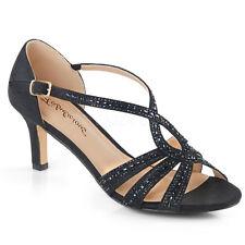 "PLEASER 2 1/2"" Heel  Black Shimmer Rhinestone Crisscross Sandals Women's Shoes"