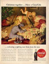 1945 Coke Coca-Cola Military Man home at Christmas New Baby Art PRINT AD