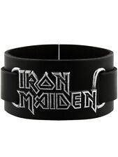 Iron Maiden Alchemy Rocks Logo Leather Black Wristband
