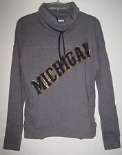 Victoria'S Secret Pink Michigan Wolverines Gray Cowl Neck Pullover Sweatshirt