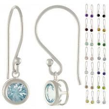 925 Sterling Silver Natural AAA 1.86ct Round Gemstones Fish Hook Earrings