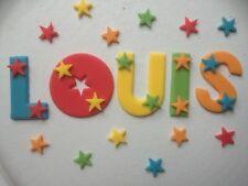 Edible sugarpaste letters - cake topper multi-colours + 12 stars