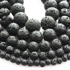 "1 String Black Lava Stone Jewelry Making Loose Beads 15"" Handmade DIY Bracelets"