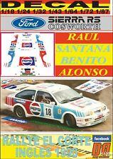 DECAL FORD SIERRA COSWORTH RAUL SANTANA RALLYE EL CORTE INGLES 1990 (01)