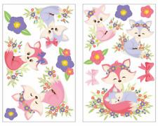 14-tlg Baby Füchse Wandtattoo pastell Rosa Set Mädchen Kinderzimmer Baby 3 Größe