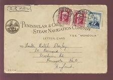 CRUISE SHIP 1933 P + O TSS MONGOLIA 5 PHOTOS + LETTER