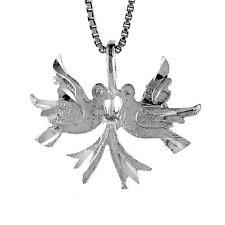 "Sterling Silver Love Birds Pendant / Charm, 18"" Italian Box Chain"