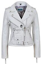 'Classic Brando Donna Bianco Stile Biker Moto Cruiser hide Leather Jacket