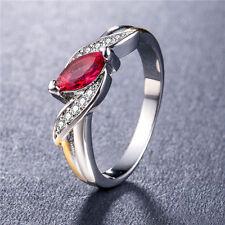 Women Elegant 925 Silver Jewelry Marquise Cut Garnet Wedding Ring Size 7-9